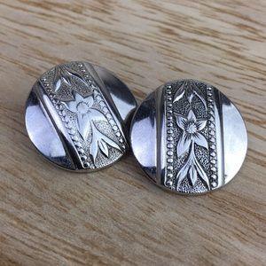 Vintage silver floral button clip earrings